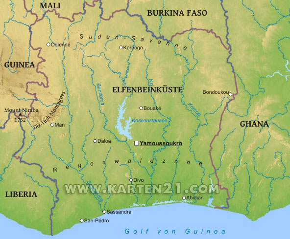 Karte von Elfenbeinküste – Karten21.com